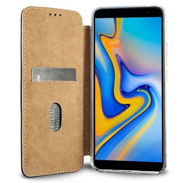 Funda Flip Cover Samsung J610 Galaxy J6 Plus Leather Marrón 3