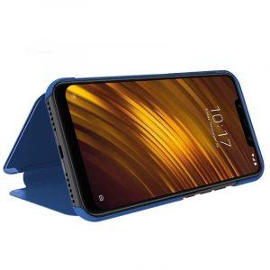 funda flip cover xiaomi pocophone f1 clear view azul 1