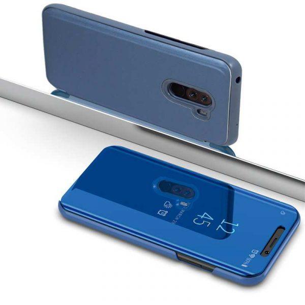 funda flip cover xiaomi pocophone f1 clear view azul