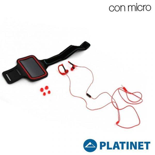 Funda Neopreno Running + Auriculares Platinet Universal Stereo Rojo 2