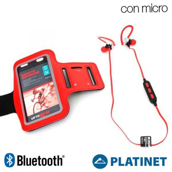 Funda Neopreno Running + Auriculares Universal Platinet Bluetooth Stereo Rojo 2