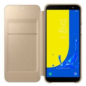 Funda Original Samsung J600 Galaxy J6 Wallet Dorado (Con Blister) 3