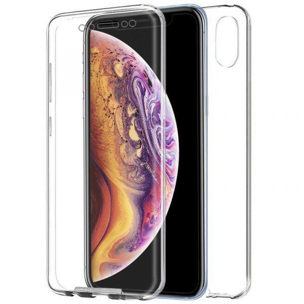funda silicona 3d iphone xs max transparente frontal trasera
