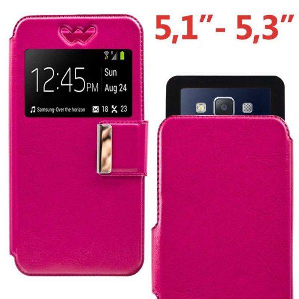 funda universal flip cover 51 53 pulg liso rosa 1