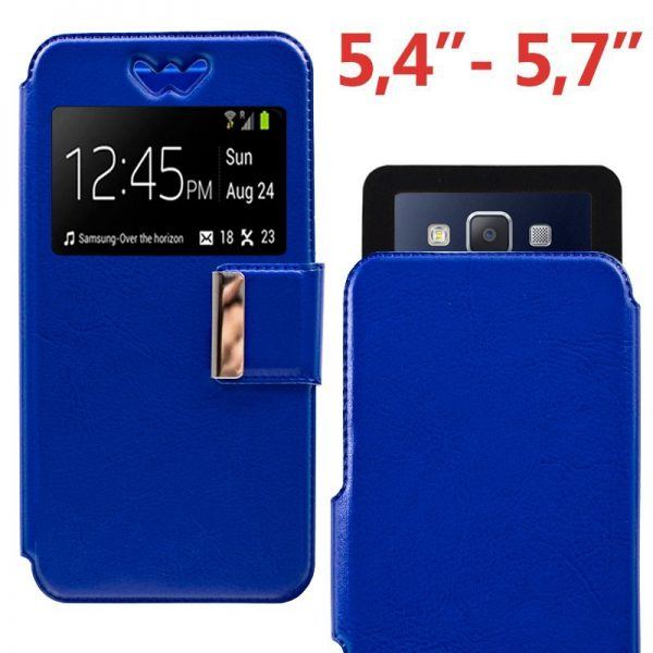 Funda Universal Flip Cover 5.4 - 5.7 pulg Liso Azul 1
