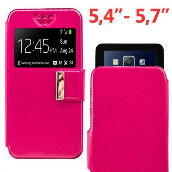 funda universal flip cover 54 57 pulg liso rosa 1