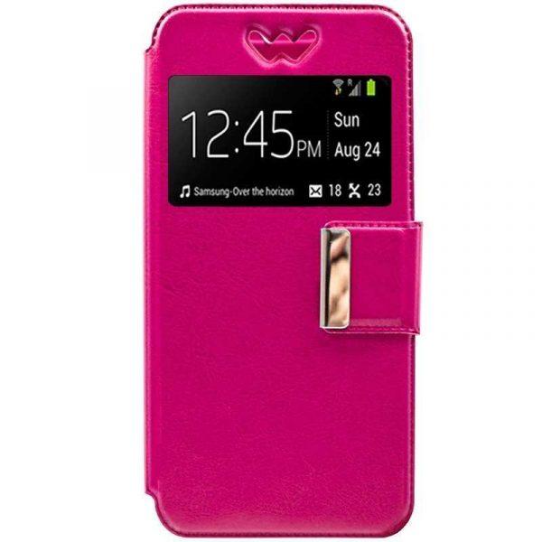 funda universal flip cover 54 57 pulg liso rosa