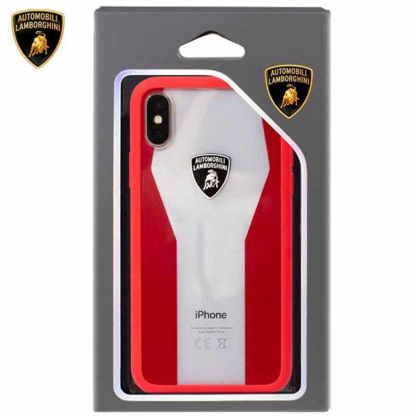 carcasa iphone x iphone xs licencia lamborghini transparente rojo