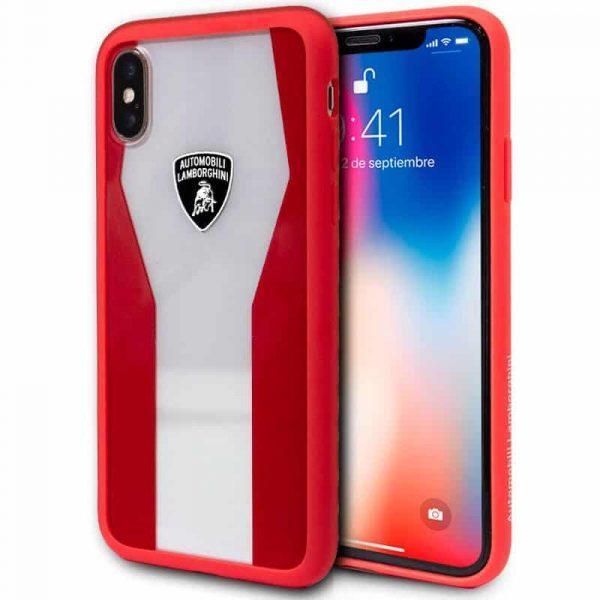 carcasa iphone x iphone xs licencia lamborghini transparente rojo2