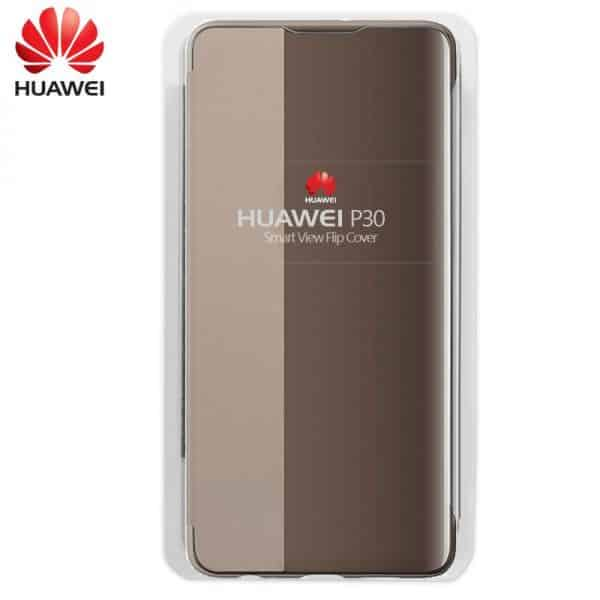 funda original huawei p30 flip cover marron con blister