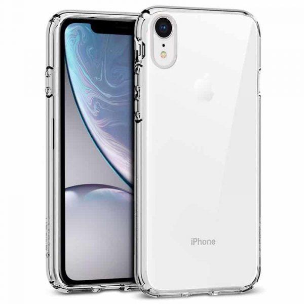 carcasa iphone xr borde metalizado plata1