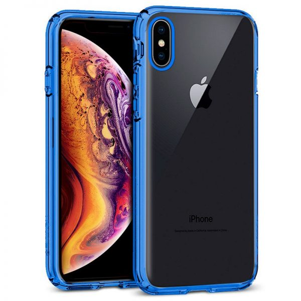 carcasa iphone xs max borde metalizado azul1