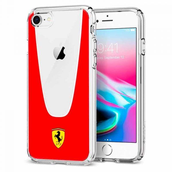 Carcasa iPhone 7 / iPhone 8 / SE 2020 Licencia Ferrari Transparente Line Rojo 1