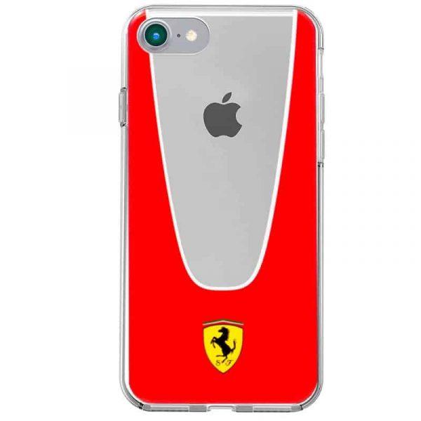 Carcasa iPhone 7 / iPhone 8 / SE 2020 Licencia Ferrari Transparente Line Rojo 3
