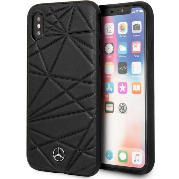 carcasa iphone x iphone xs licencia mercedes benz piel negra1