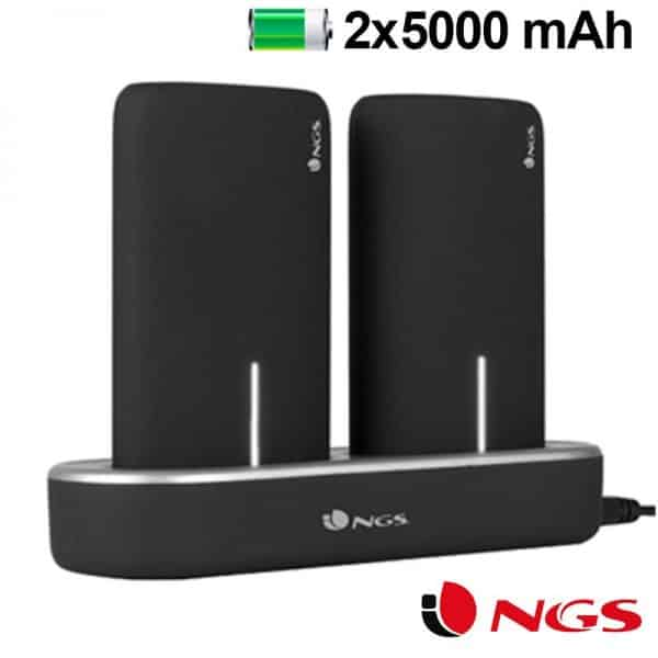 bateria externa micro usb power bank 5000 mah x2 uds estacion de carga magnetica ngs1