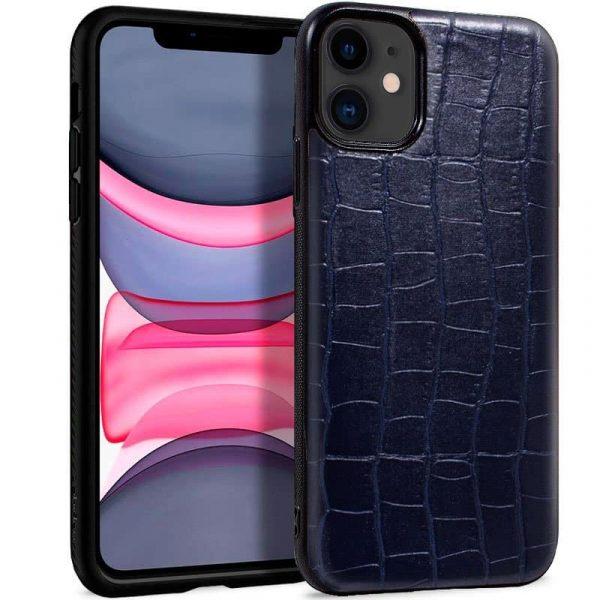 carcasa iphone 11 leather crocodile marino1