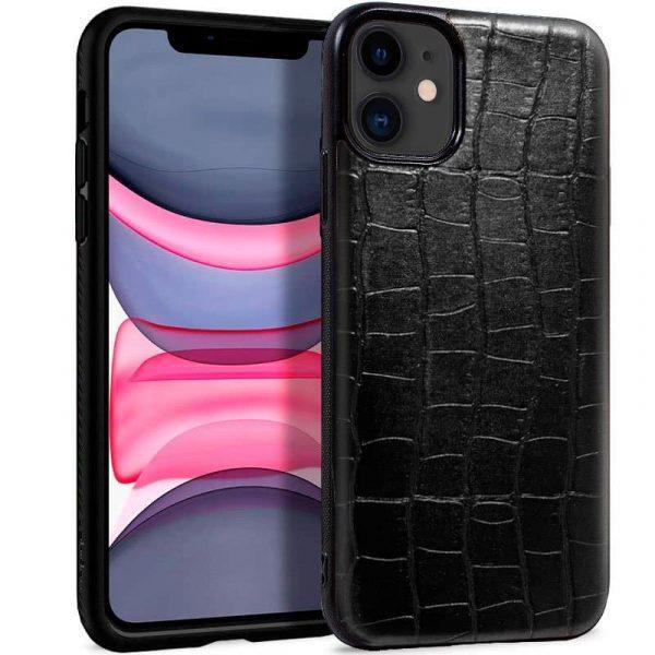 carcasa iphone 11 leather crocodile negro1