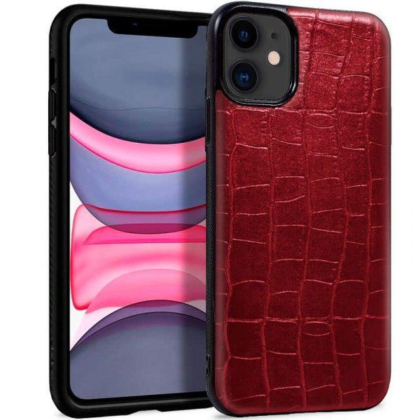 carcasa iphone 11 leather crocodile rojo1