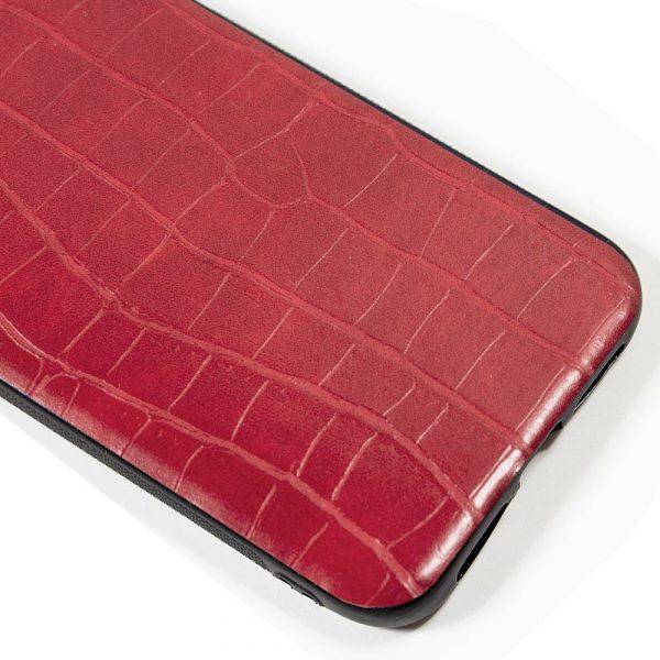 carcasa iphone 11 leather crocodile rojo2