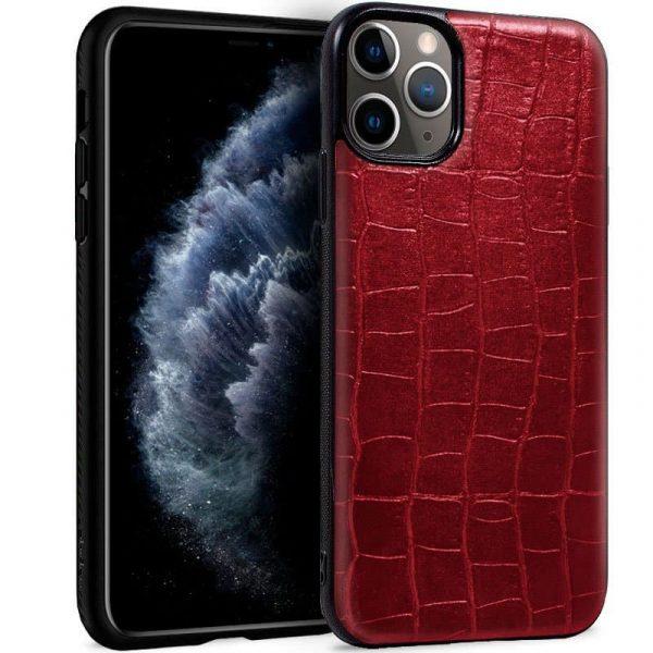 carcasa iphone 11 pro leather crocodile rojo1