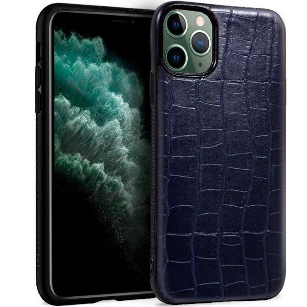 carcasa iphone 11 pro max leather crocodile marino1