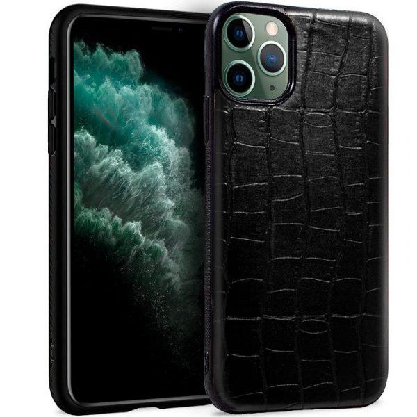 carcasa iphone 11 pro max leather crocodile negro1