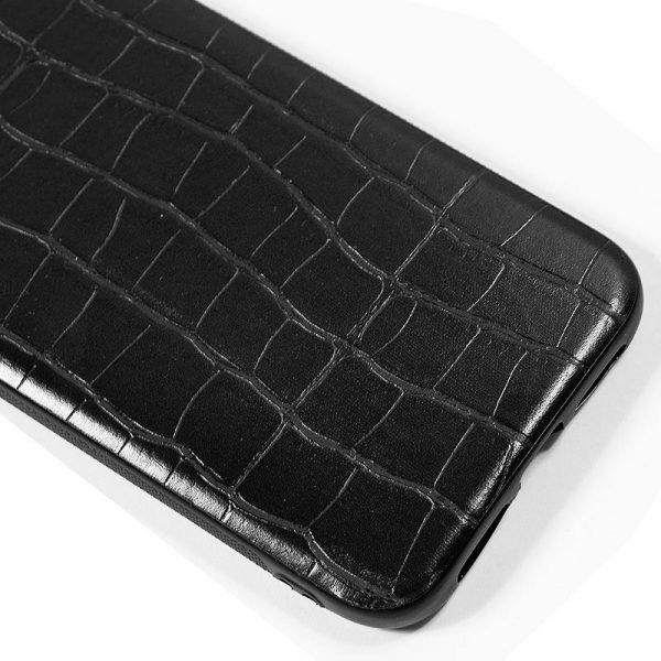 carcasa iphone 11 pro max leather crocodile negro2