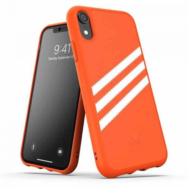 carcasa iphone xr licencia adidas rayas naranja1