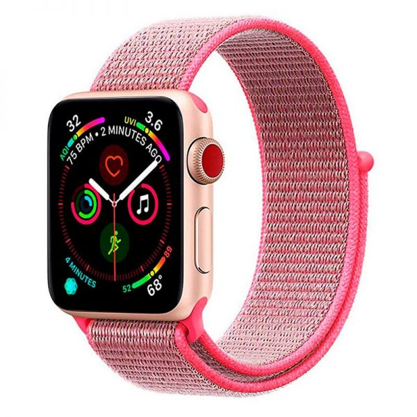 correa apple watch series 1 2 3 4 5 42 44 mm loop nylon rosa1