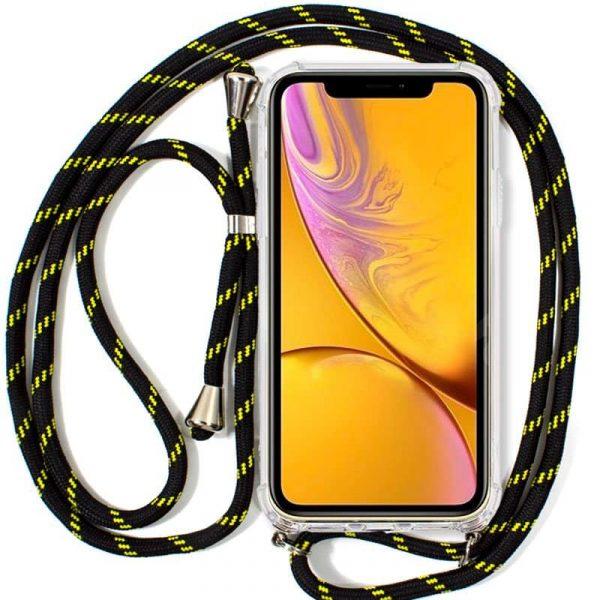 carcasa iphone xr cordon negro amarillo1