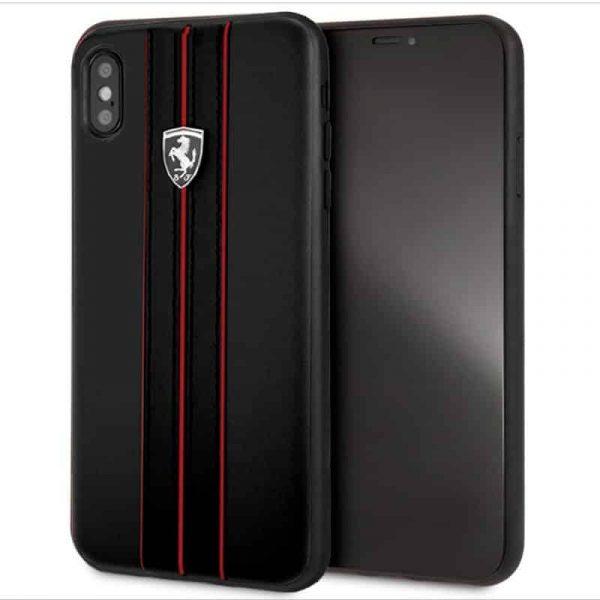 carcasa iphone xs max licencia ferrari piel negro1