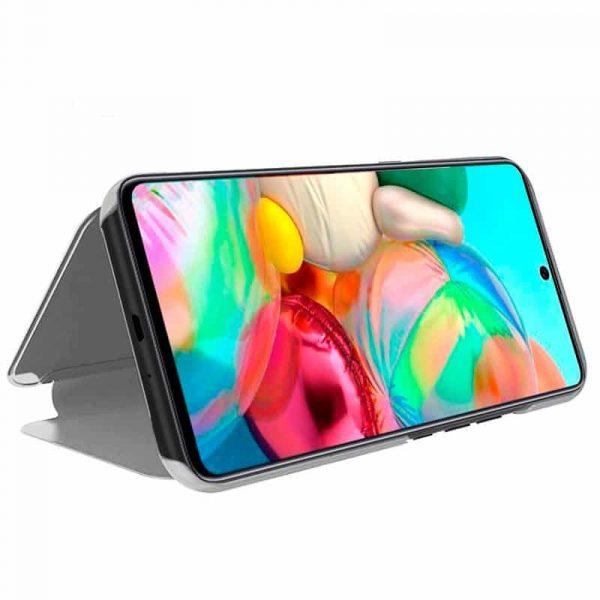 Funda Con Tapa Samsung Galaxy A71 Clear View Plata 2