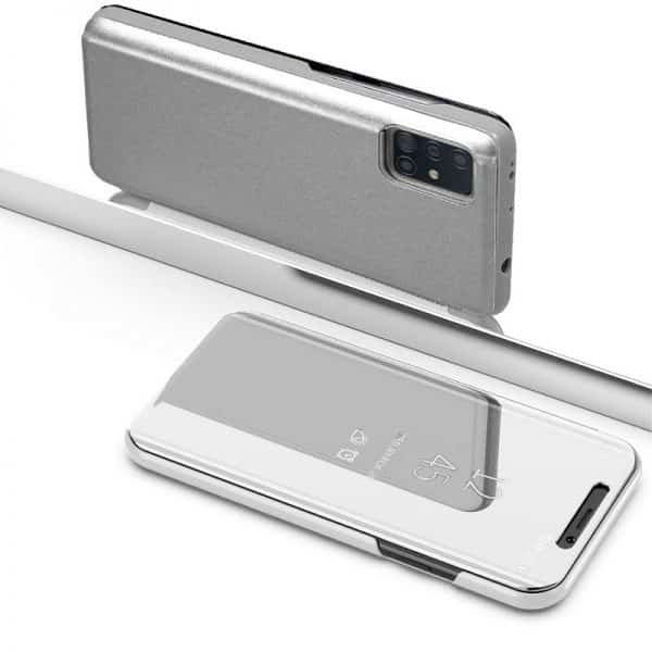 Funda Con Tapa Samsung Galaxy A71 Clear View Plata 3