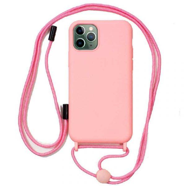 carcasa iphone 11 pro max cordon liso rosa 1