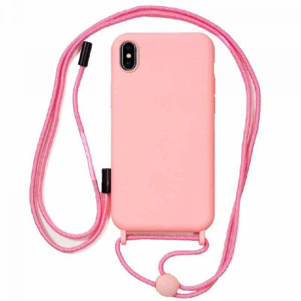 carcasa iphone x iphone xs cordon liso rosa 1
