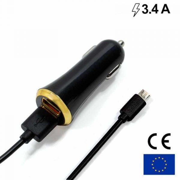 cargador coche conector micro usb cool universal 34amp kit 2 en 1 negro 1