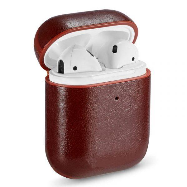 funda soft apple airpods leather marron 1