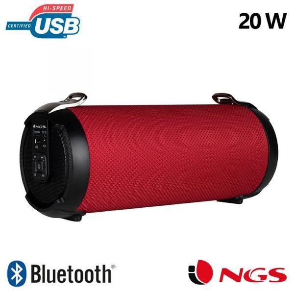 altavoz musica universal bluetooth ngs roller tempo rojo 20w 1