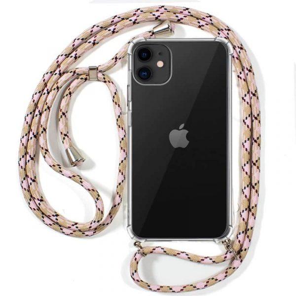 carcasa iphone 11 cordon rosa beige 1