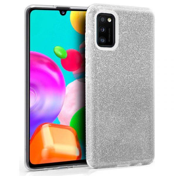 Carcasa Samsung Galaxy A41 Glitter Plata 1