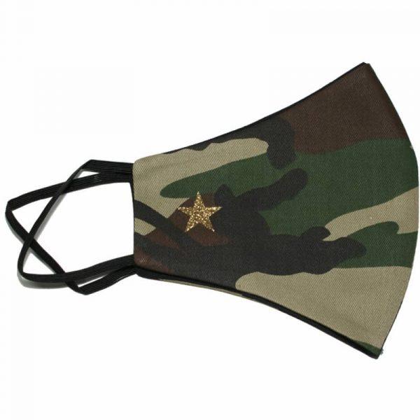 mascarilla militar estrella dorada glitter 1