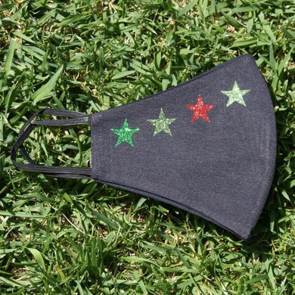 Mascarilla Reutilizable Negra Diseño 4 Estrellas Glitter 3