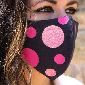 mascarilla negra cirulos glitter rosa 2