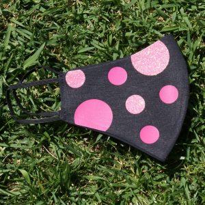 mascarilla negra cirulos glitter rosa 3