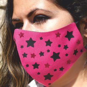 Mascarilla Reutilizable Rosa Diseño Estrellas Negras Glitter Rosa 5