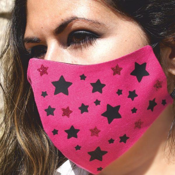 Mascarilla Reutilizable Rosa Diseño Estrellas Negras Glitter Rosa 2