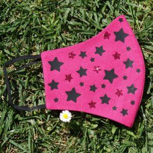 Mascarilla Reutilizable Rosa Diseño Estrellas Negras Glitter Rosa 6