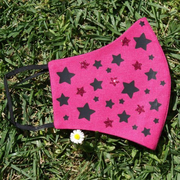 Mascarilla Reutilizable Rosa Diseño Estrellas Negras Glitter Rosa 3
