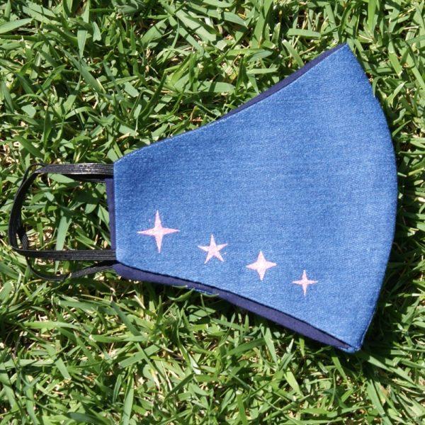 Mascarilla Reutilizable Vaquera Diseño Estrellas Glitter Rosa 3